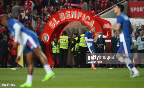 Porto's midfielder from Portugal Andre Andre during warm up before the start of the Primeira Liga match between SL Benfica and FC Porto at Estadio da...