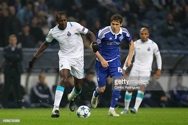 Porto's midfielder Gianelli Imbula vies with FC Dynamo Kyiv's midfielder Denys Garmash during the Champions League match between FC Porto and FC...