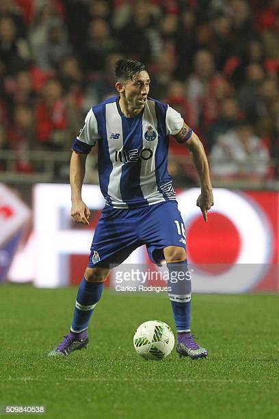 Porto's midfielder Hector Herrera during the match between SL Benfica and FC Porto for the portuguese Primeira Liga at Estadio da Luz on February 12...