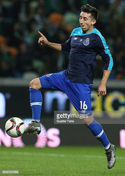 Porto's midfielder Hector Herrera in action during warm up for the Primeira Liga match between Sporting CP and FC Porto at Estadio Jose Alvalade on...