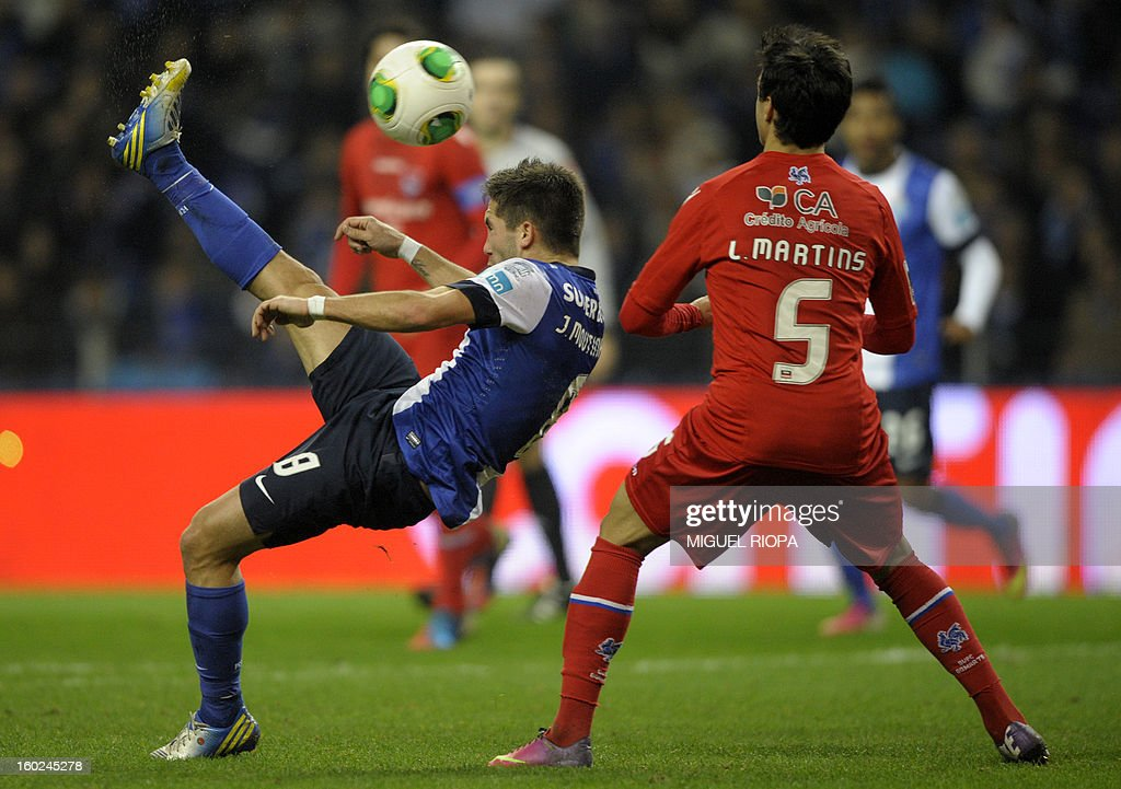 Porto's midfielder Joao Moutinho (L) kicks the ball during the Portuguese league football match FC Porto vs Gil Vicente at the Dragao Stadium in Porto on January 28, 2013. Porto won the match 5-0. AFP PHOTO / MIGUEL RIOPA