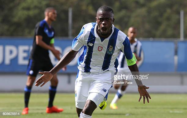 Porto's midfielder Moreto Cassama celebrates after scoring a goal during the UEFA Youth Champions League match between FC Porto and FC Copenhagen at...