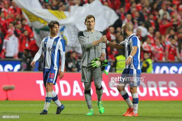 FC Portos midfielder Oliver Torres from Spain and FC Portos goalkeeper Iker Casillas from Spain with FC Portos midfielder Andre Andre from Portugal...