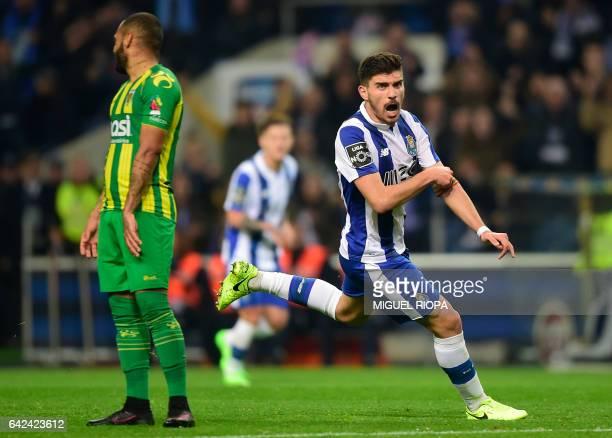 Porto's midfielder Ruben Neves celebrates after scoring during the Portuguese league football match FC Porto vs CD Tondela at the Dragao stadium in...