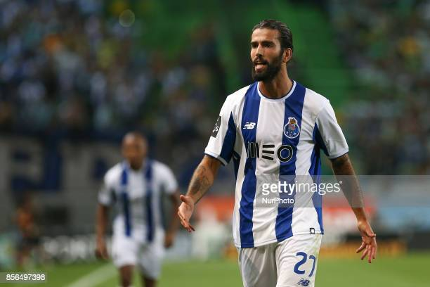 FC Portos midfielder Sergio Oliveira from Portugal during Premier League 2017/18 match between Sporting CP and FC Porto at Alvalade Stadium in Lisbon...