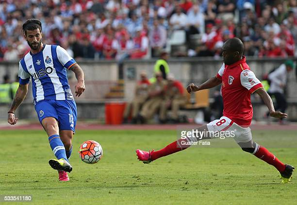 Porto's midfielder Sergio Oliveira with SC Braga's midfielder Luiz Carlos in action during the Portuguese Cup Final match between FC Porto and SC...