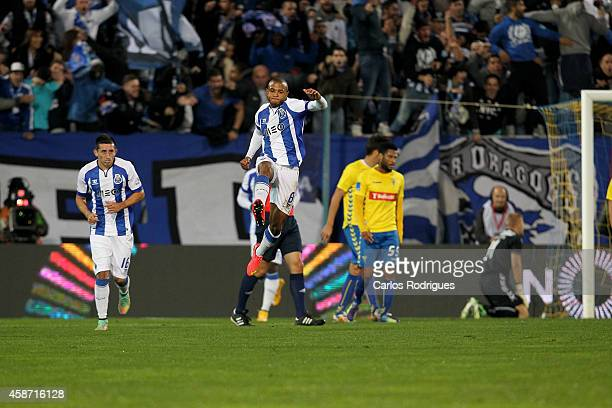 Porto's midfielder Yacine Brahimi celebrates scoring Porto«s Goal during the Portuguese First League match between GD Estoril Praia and FC Porto at...