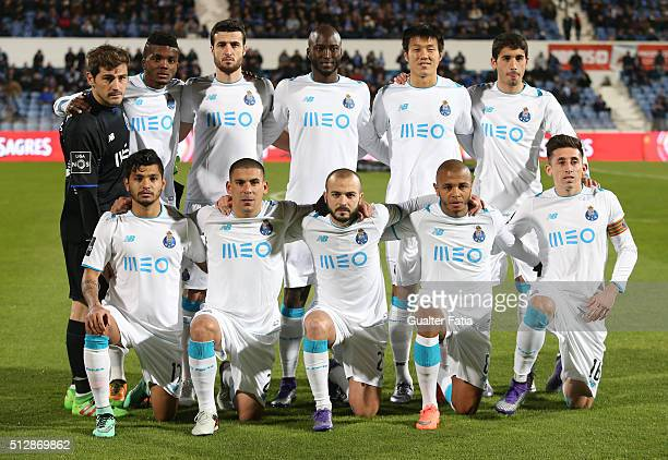 Porto's players pose for a team photo before the start of the Primeira Liga match between Os Belenenses and FC Porto at Estadio do Restelo on...