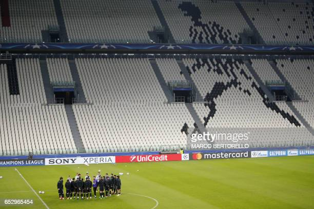 Porto's players take part in a training session on the eve of the UEFA Champions League football match Juventus Vs FC Porto on March 13 2017 at the...