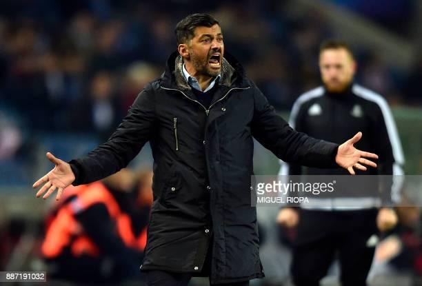 Porto's Portuguese coach Sergio Conceicao gestures during their UEFA Champions League group G football match FC Porto vs Monaco at the Dragao stadium...
