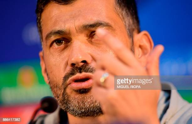 Porto's Portuguese coach Sergio Conceicao holds a press conference at the Dragao stadium in Porto on December 5 2017 on the eve of the UEFA Champions...