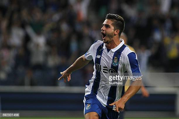 Porto's Portuguese forward Andre Silva celebrates after scoring goal during the Premier League 2016/17 match between FC Porto v Estoril at Dragao...