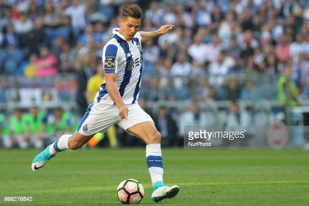 Porto's Portuguese forward Andre Silva during the Premier League 2016/17 match between FC Porto and Belenenses at Dragao Stadium in Porto on April 8...