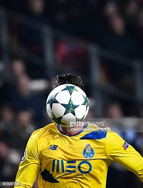 FC Porto's Portuguese forward Andre Silva during the UEFA Champions League group G football match between FC Porto and FC Copenhagen at the Parken...