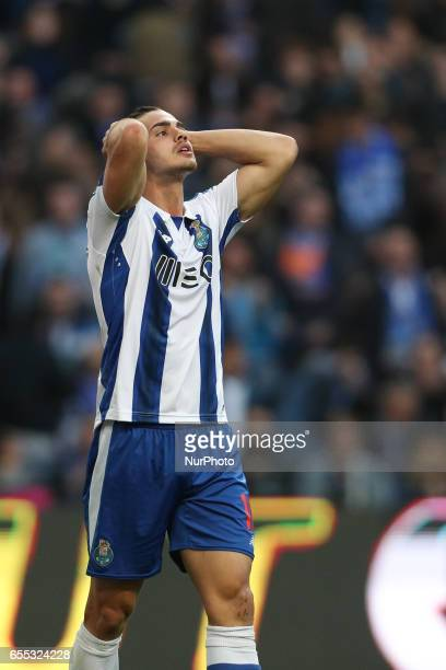 Porto's Portuguese forward Andre Silva reacts during the Premier League 2016/17 match between FC Porto and Vitoria Setubal at Dragao Stadium in Porto...