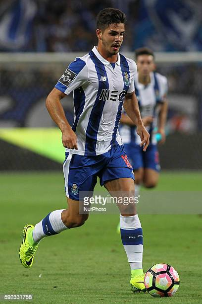 Porto's Portuguese forward Andre Silva vies during the Premier League 2016/17 match between FC Porto v Estoril at Dragao Stadium in Porto on August...