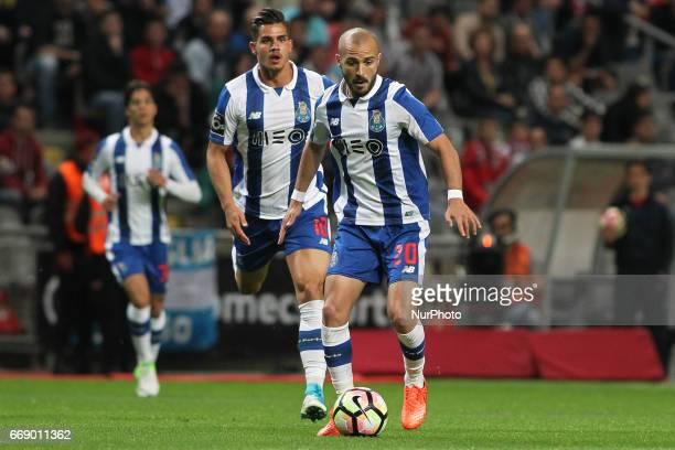Porto's Portuguese midfielder Andre Andre during the Premier League 2016/17 match between SC Braga and FC Porto at Municipal de Braga Stadium in...