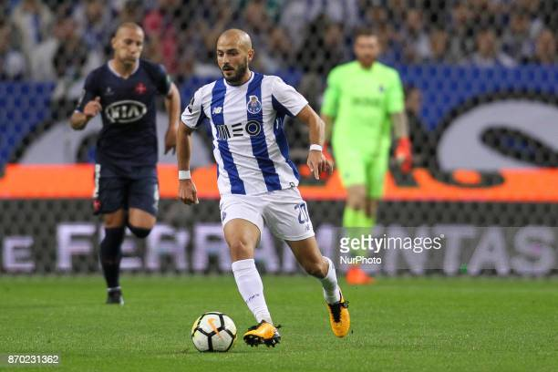 Porto's Portuguese midfielder Andre Andre during the Premier League 2017/18 match between FC Porto and Belenenses at Dragao Stadium in Porto on...