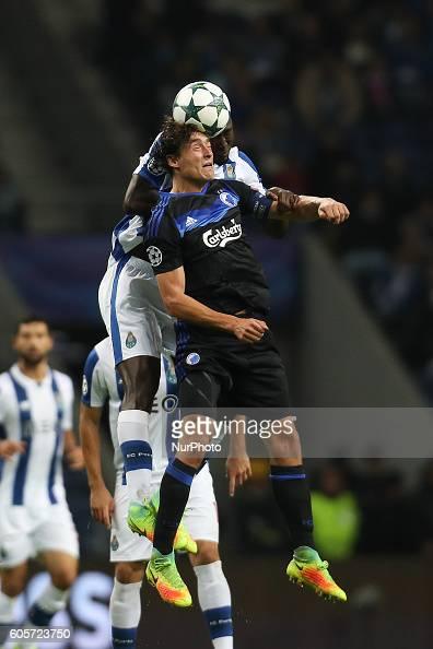 Porto's Portuguese midfielder Danilo Pereira vies with Kobenhavn's midfielder Thomas Delaney during the UEFA Champions League Group G match between...