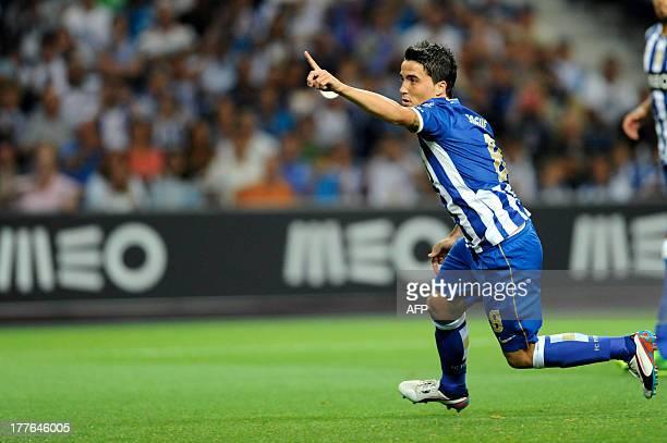 FC Porto's Portuguese midfielder Josue Filipe celebrates after scoring during the Portuguese League football match FC Porto vs Maritimo at Dragao...