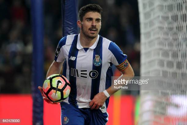 Porto's Portuguese midfielder Ruben Neves celebrates after scoring goal during the Premier League 2016/17 match between FC Porto and CD Tondela at...