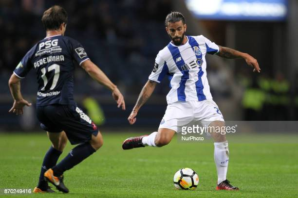 Porto's Portuguese midfielder Sergio Oliveira during the Premier League 2017/18 match between FC Porto and Belenenses at Dragao Stadium in Porto on...