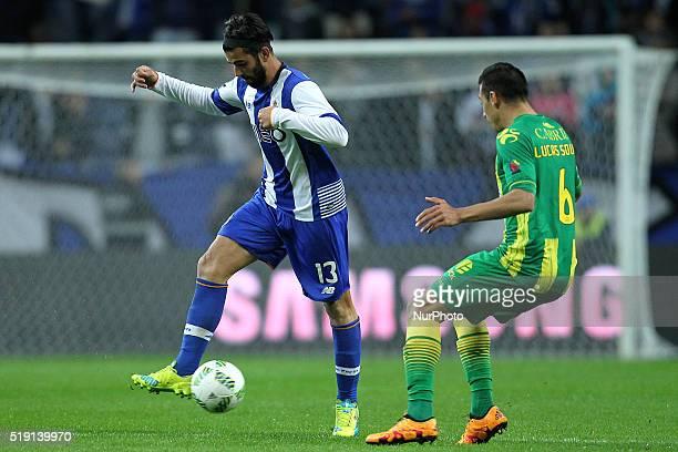 Porto's Portuguese midfielder Sérgio Oliveira in action CD Tondela's Brazilian midfielder Lucas Souza during the Premier League 2015/16 match between...