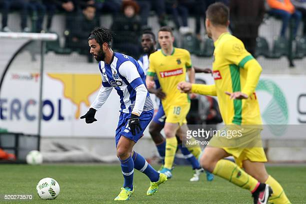 Porto's Portuguese midfielder Sérgio Oliveira in action during the Premier League match between Pacos Ferreira and FC Porto at Mata Real Stadium in...
