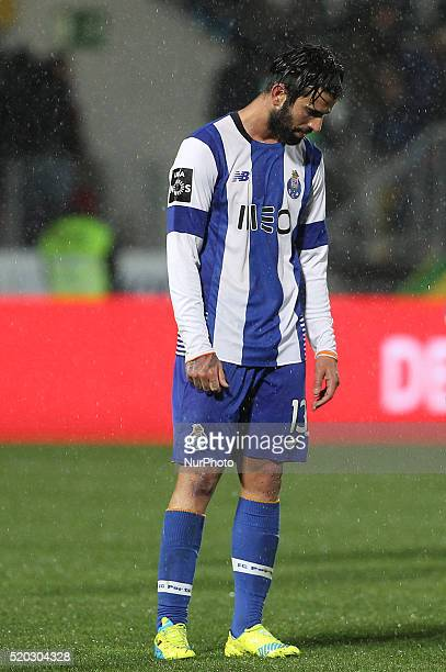 Porto's Portuguese midfielder Sérgio Oliveira reacts after end of game during the Premier League match between Pacos Ferreira and FC Porto at Mata...