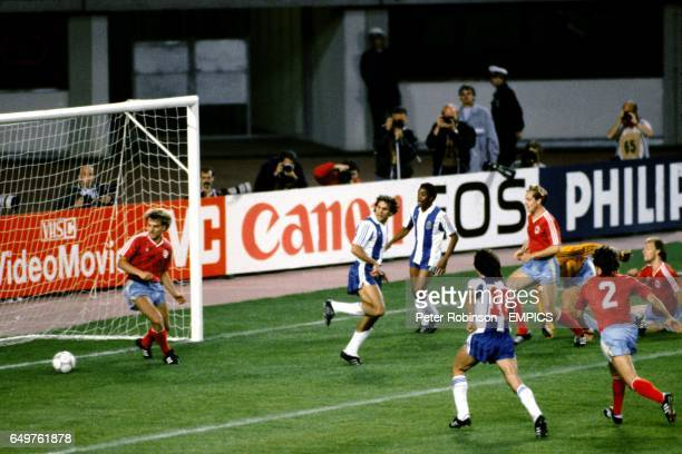 Porto's Rabah Madjer backheels the ball into the Bayern net to score the equalizing goal with just 13 minutes left