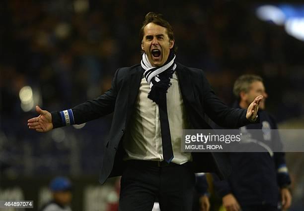 Porto's Spanish coach Julen Lopetegui reacts during the Portuguese league football match FC Porto vs Sporting CP at the Dragao stadium in Porto on...