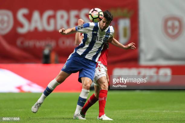 Porto's Spanish defender Ivan Marcano in action during the Premier League 2016/17 match between SC Braga and FC Porto at Municipal de Braga Stadium...