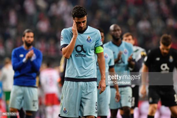 Porto's Spanish defender Ivan Marcano reacts after the UEFA Champions League group G football match RB Leipzig v FC Porto in Leipzig eastern Germany...