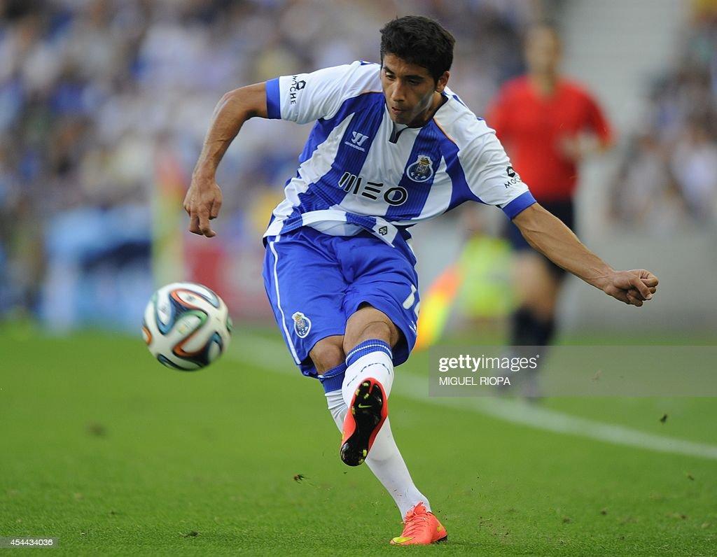 Porto's Spanish defender Jose Angel Valdes kicks the ball during the Portuguese league football match FC Porto vs Moreirense at the Dragao Stadium in Porto, on August 31, 2014. Porto won the match 3-0.