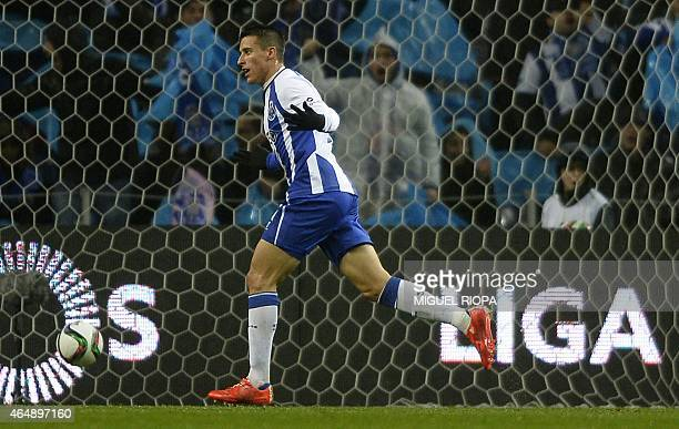 Porto's Spanish forward Cristian Tello celebrates after scoring a goal during the Portuguese league football match FC Porto vs Sporting CP at the...