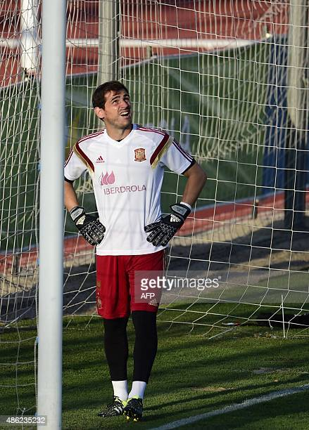 FC Porto's Spanish goalkeeper Iker Casillas attends a training session with the Spanish national football team in Las Rozas' Soccer City on September...