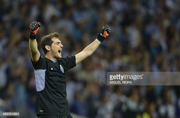 Porto's Spanish goalkeeper Iker Casillas celebrates at the end of the Portuguese league football match FC Porto vs SL Benfica at the Dragao stadium...