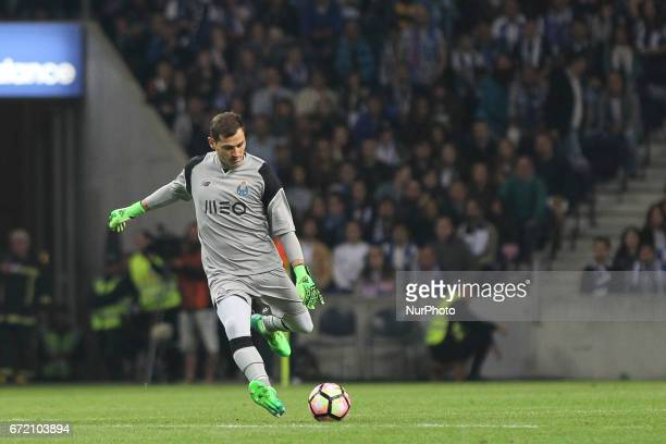 Porto's Spanish goalkeeper Iker Casillas during the Premier League 2016/17 match between FC Porto and CD Feirense at Dragao Stadium in Porto on April...
