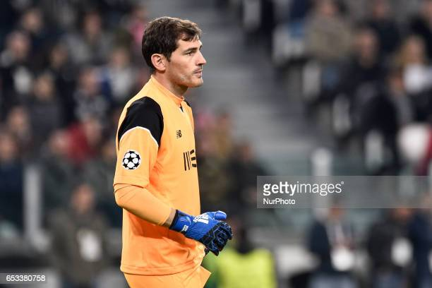 Porto's Spanish goalkeeper Iker Casillas during the UEFA Champions League Round of 16 2st leg soccer match between Juventus FC and FC Porto at...