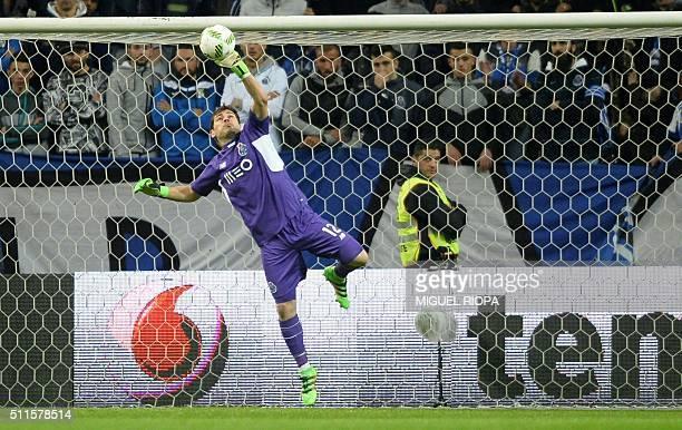 Porto's Spanish goalkeeper Iker Casillas stops the ball during the Portuguese league football match FC Porto vs Moreirense FC at the Dragao stadium...