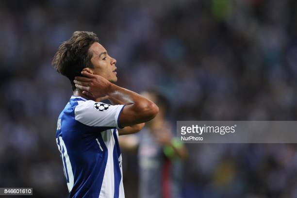 Porto's Spanish midfielder Oliver Torres reacts during the FC Porto v Besiktas UEFA Champions League Group G round one match at Dragao Stadium on...