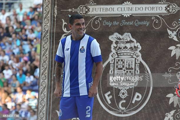 Porto's Uruguayan defender Maxi Pereira during the preseason friendly between FC Porto and Napoli at Estadio do Dragao on August 8 2015 in Porto...