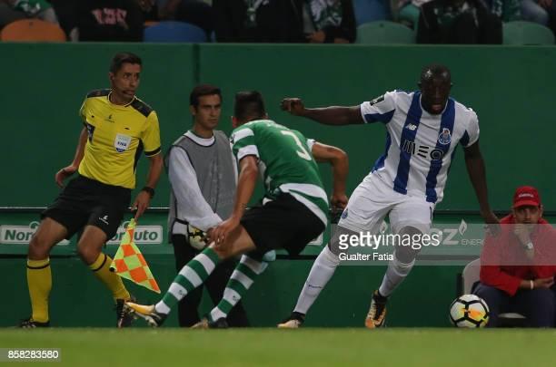 Porto'u2019s forward Moussa Marega from Mali in action during the Primeira Liga match between Sporting CP and FC Porto at Estadio Jose Alvalade on...