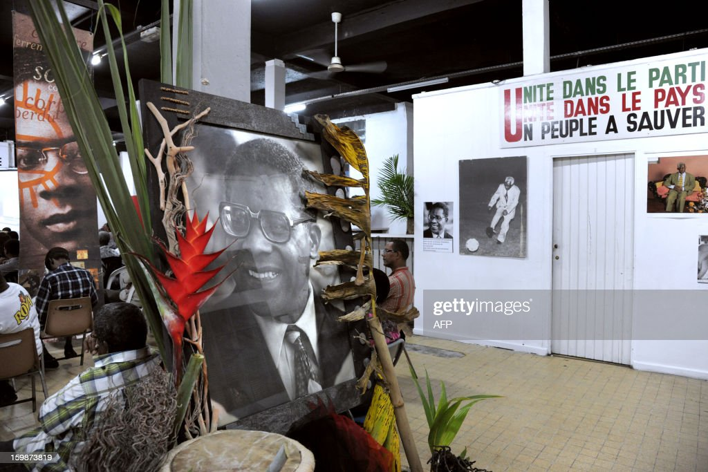 A portrait and pictures of late French poet and politician Aime Cesaire (C) are displayed on January 21, 2013 at the Martinican Progressive Party (PPM) headquarters in Fort-de-France, on the French Caribbean island of Martinique, marking the 100th anniversary of Cesaire's birth. Cesaire (June 25, 1913 – 17 April 2008) was former mayor of Fort-de-France and had funded the PPM party in 1958. As a pioneer of the black pride movement, Cesaire was a cult figure on his native island of Martinique and in the French-speaking world. With fellow writers such as Leopold Sedar Senghor of Senegal, 'Papa Cesaire' invented the term 'negritude,' which he defined as an 'affirmation that one is black and proud of it', decades before the emergence of Steve Biko or Martin Luther King.