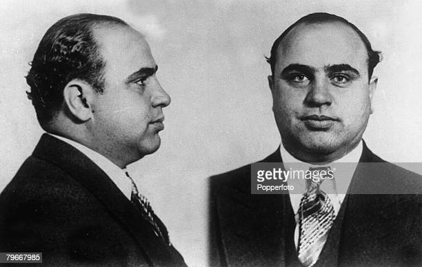 1931 USA Portrait and profile picture of Chicago gangster Al Capone