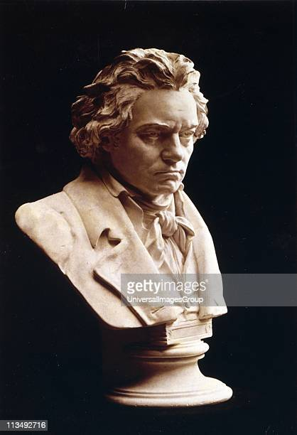Portrait bust of Ludwig van Beethoven German composer and pianist One of the most influential western composers whose music bridged the Classical and...