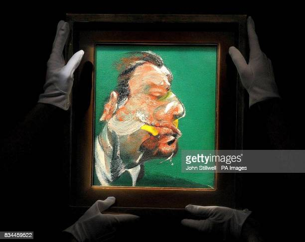 A portrait by Francis Bacon titled 'study for head of George Dyer' on display at Sotheby's auction house in London