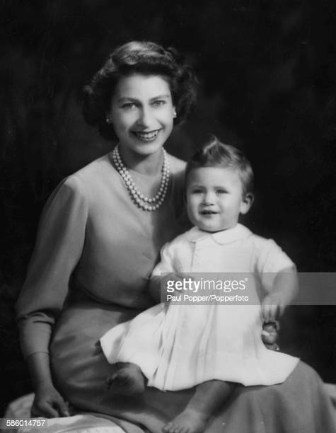 Portrait by Marcus Adams of Princess Elizabeth and her baby son Prince Charles taken by Marcus Adams 1949