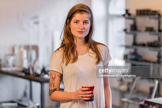 portrait craftswoman in studio