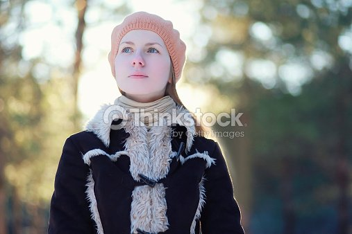 e55b84ca0 Portrait Cute Young Girl In Jacket And Beret Stock Photo | Thinkstock